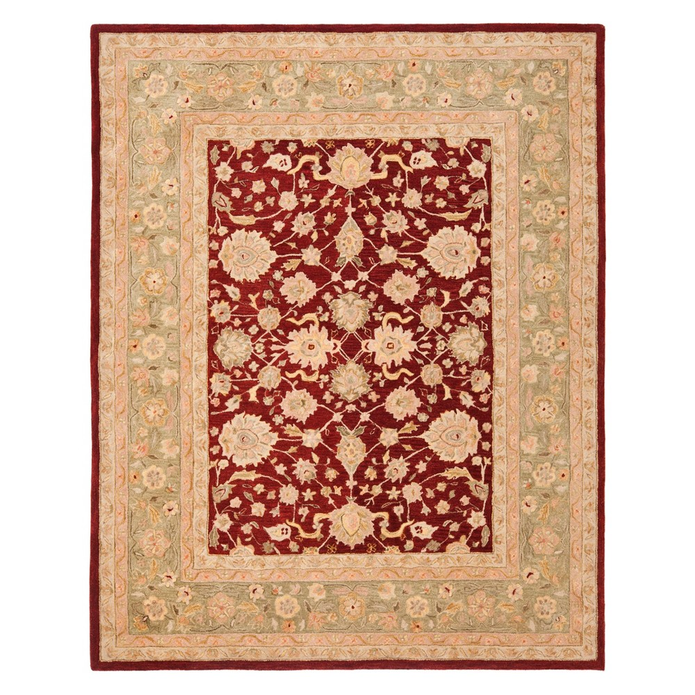 Floral Area Rug Red/Moss