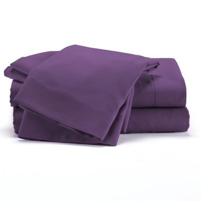 Lakeside Plum Microfiber Bed Sheet Set with Matching Pillowcase