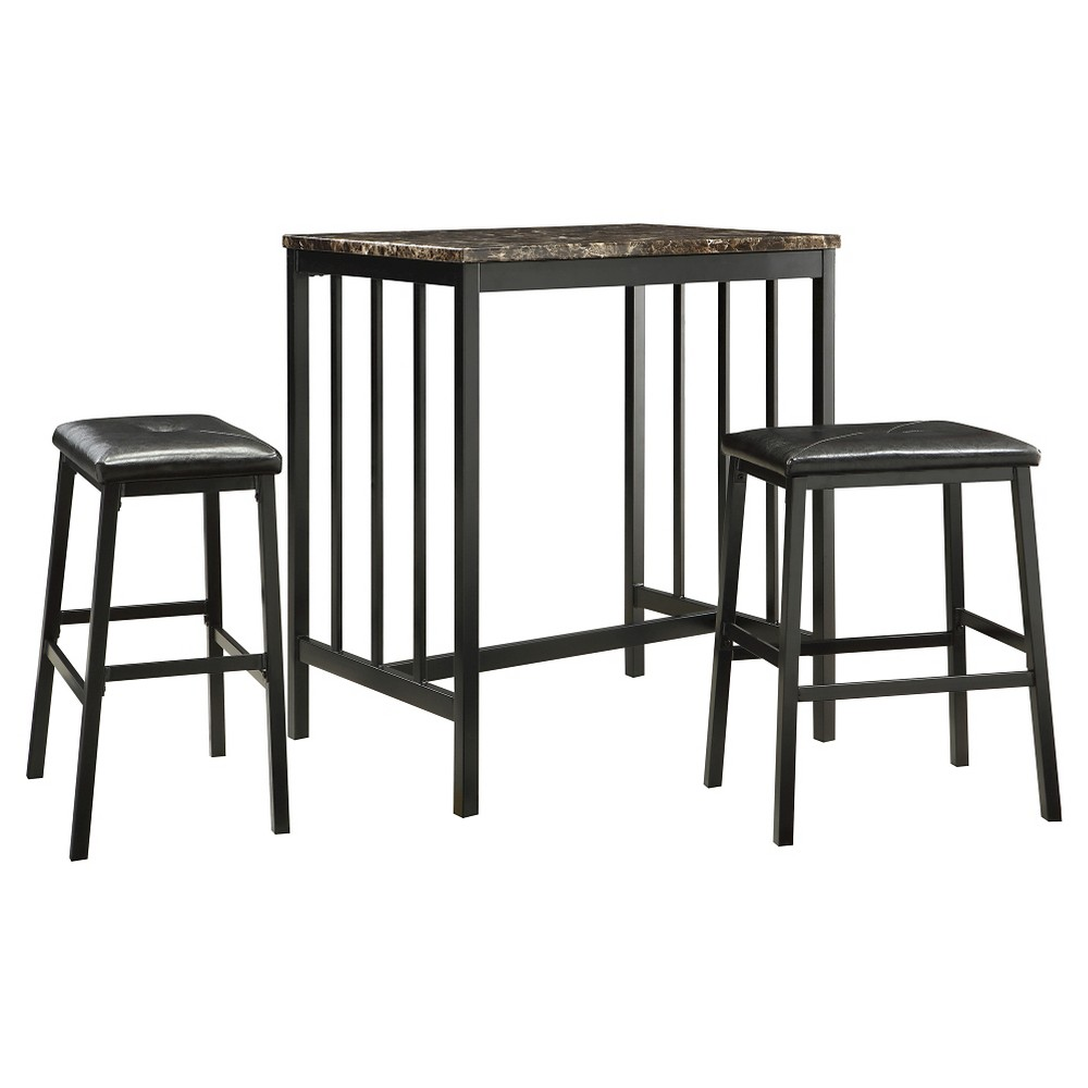 Image of 3 Piece Presidio Faux Marble Counter Height Dining Set Metal/Black - Inspire Q