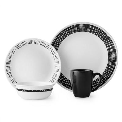 Corelle Atlanta Vitrelle 16pc Dinnerware Set - Black/White