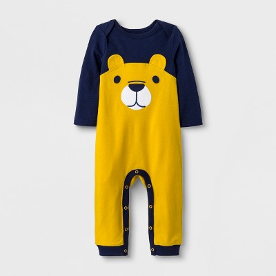 Baby Boys' Long Sleeve Lap Shoulder Bear Romper - Cat & Jack™ Navy/Yellow Newborn