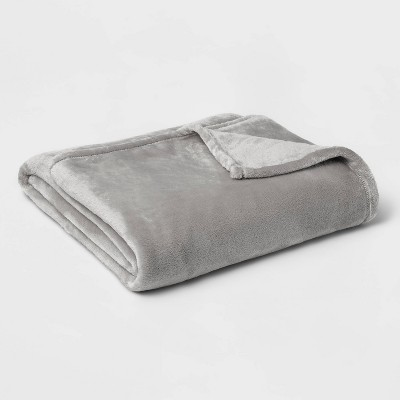 Twin/Twin XL Microplush Bed Blanket Gray - Threshold™