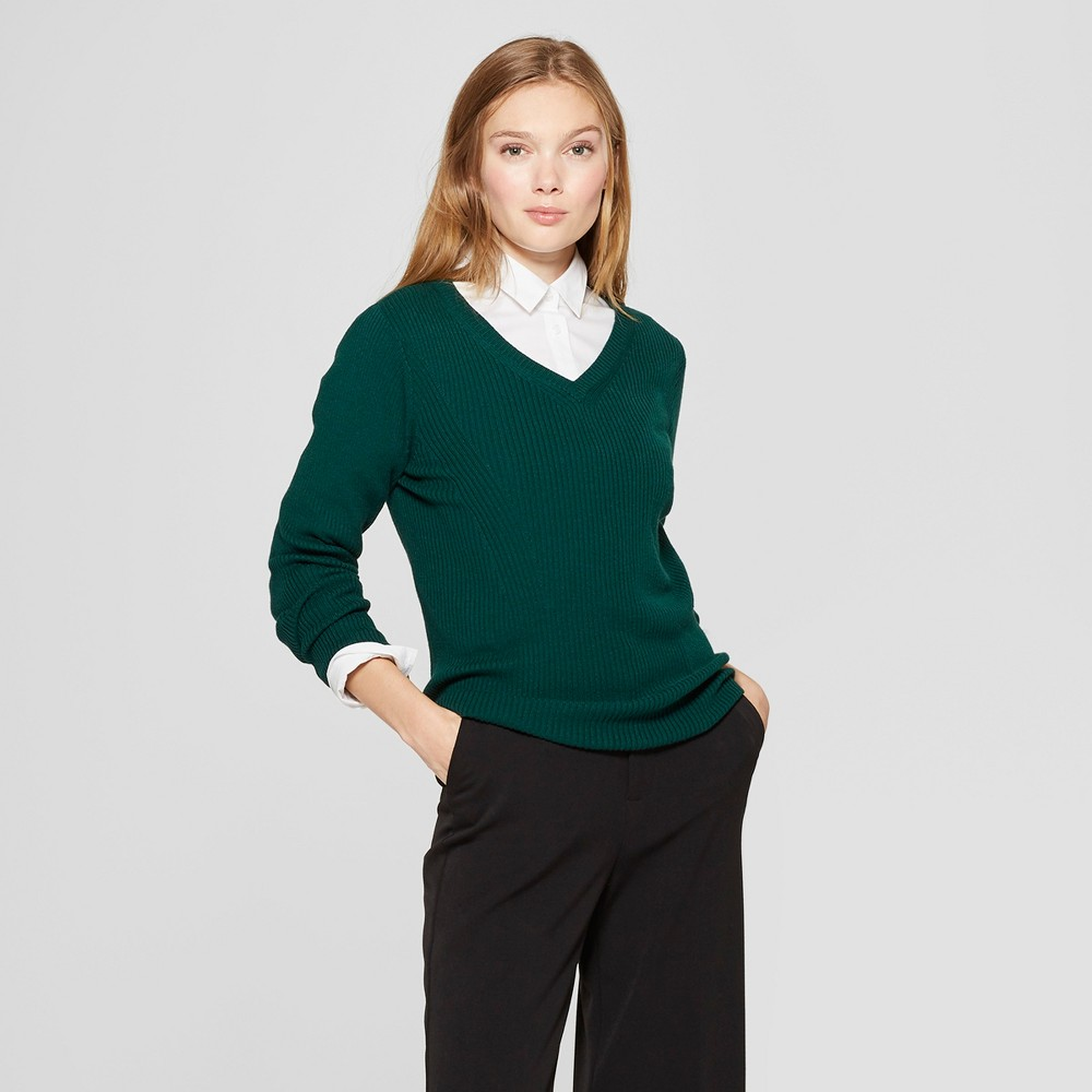 Women's V-Neck Ribbed Pullover Sweater - A New Day Green M