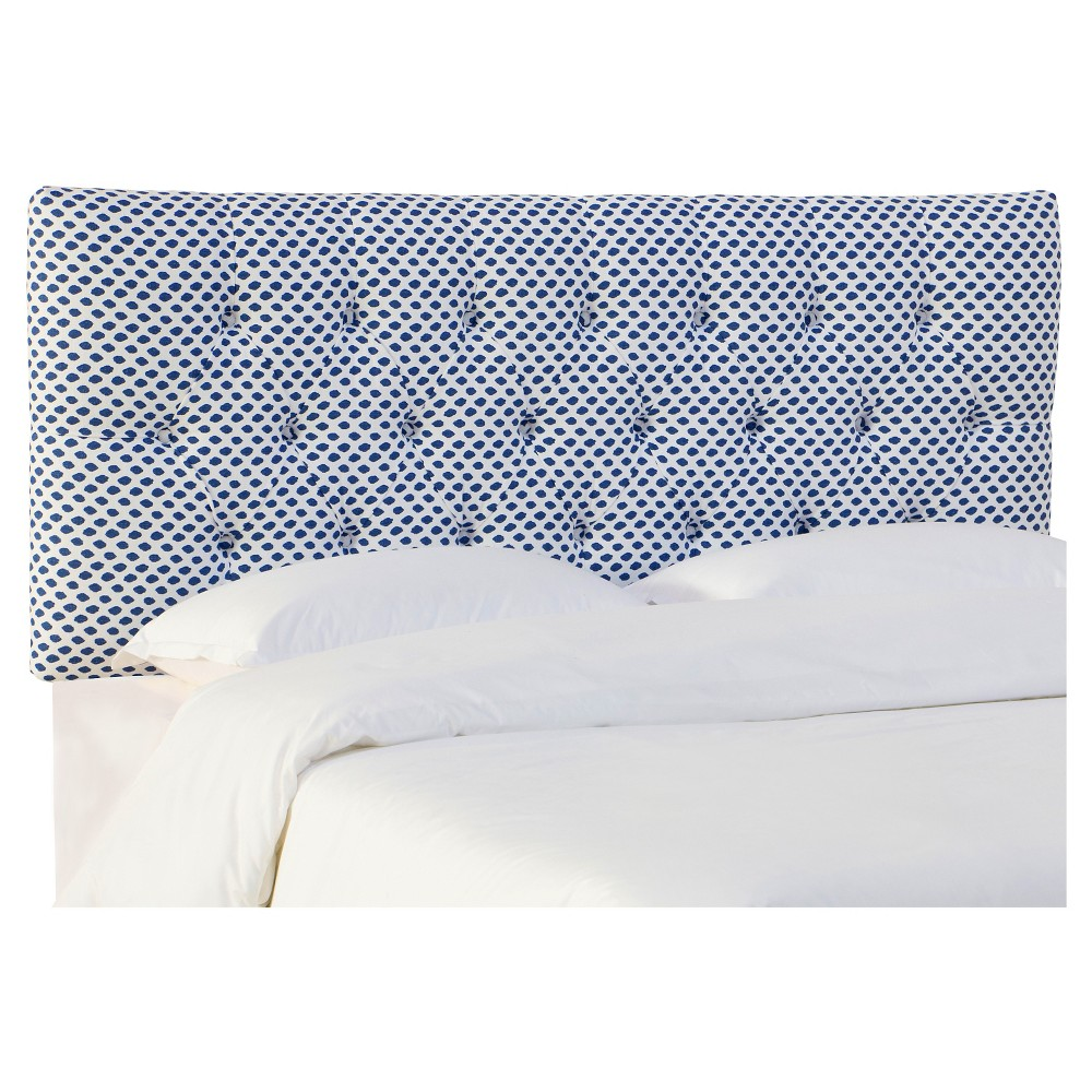Full Edwardian Tufted Headboard Patterned Sahara Midnight White Flax Skyline Furniture