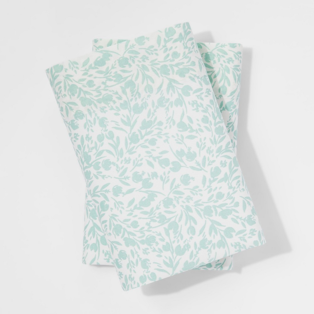Vintage Wash Percale Pillowcases (Standard) Pond Green - Threshold