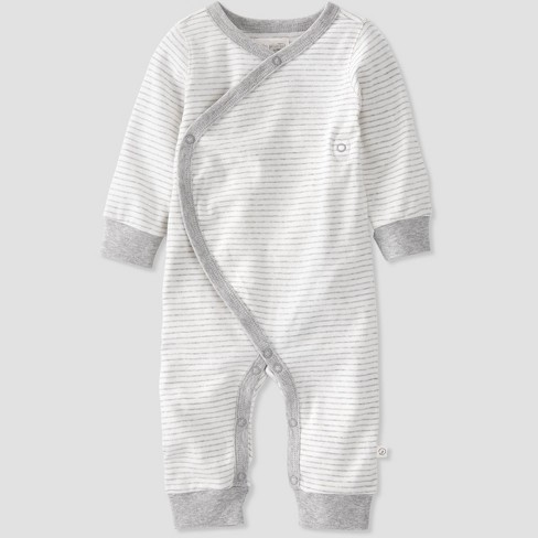 Baby Organic Cotton Striped Sleep N' Play - little planet by carter's Gray 9M - image 1 of 3