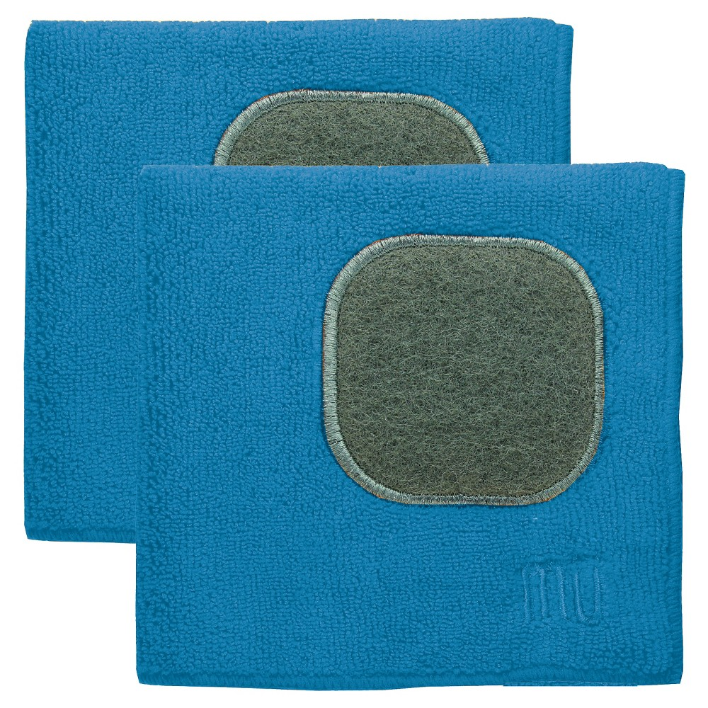 "Image of ""12""""X12"""" 2pk Microfiber Dish Cloth With Scrubber Blue - Mu Kitchen"""