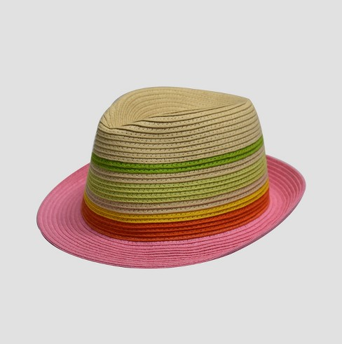 Girls' Striped Fedora Hat - Cat & Jack™ One Size - image 1 of 4