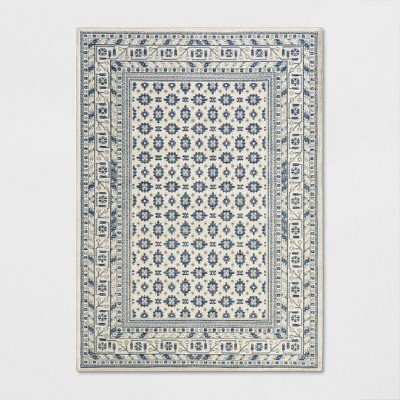 5'X7' Indoor/Outdoor Floral Woven Area Rug Ivory - Threshold™