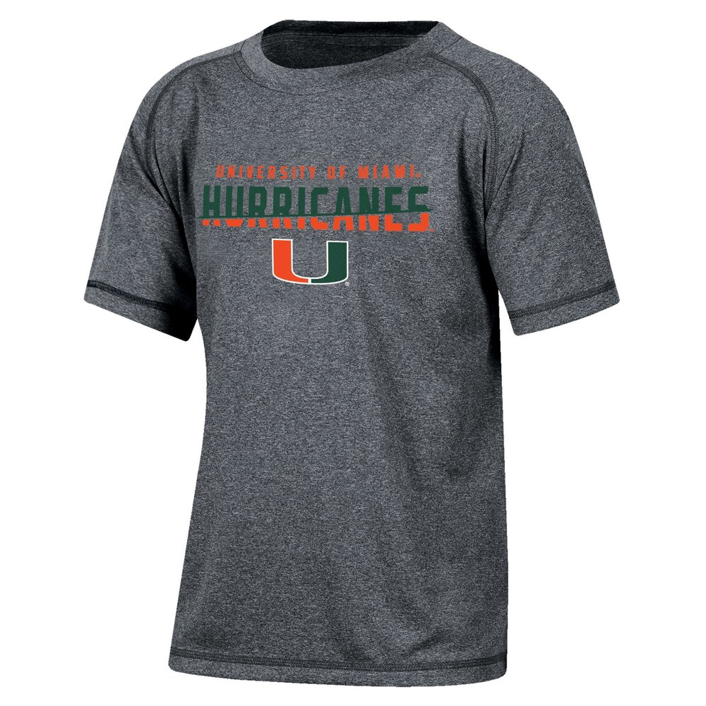 Miami Hurricanes Boys Short Sleeve Crew Neck Raglan Performance T-Shirt - Gray Heather L, Multicolored