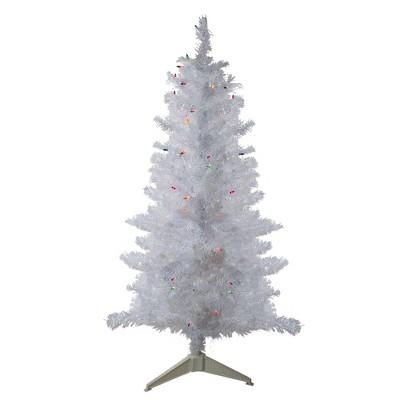 Northlight 4' Pre-lit White Iridescent Pine Artificial Christmas Tree - Multi Lights