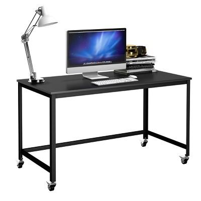 Costway Rolling Computer Desk Wood Top Metal Frame Laptop Table Study Workstation Black