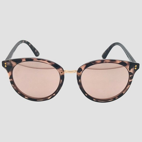 68e6b7a15a44c Women's Round Tort Sunglasses with Rose Gold Mirrored Lenses - A New Day™  Brown