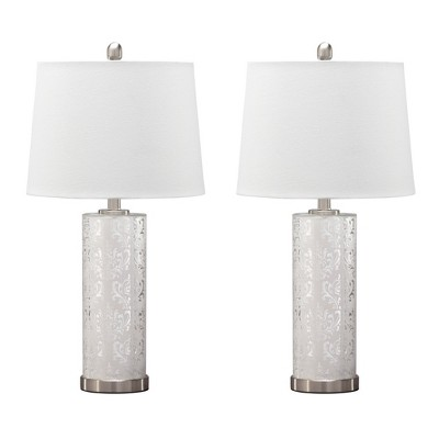 Nichole Glass Set Of 2 Table Lamp Silver - Signature Design by Ashley