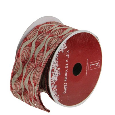 "Northlight Brown and Red Glittered Christmas Wired Craft Ribbon 2.5"" x 10 Yards"