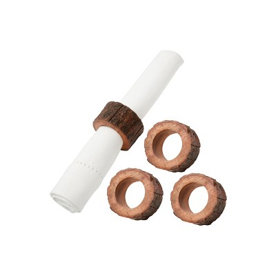 C&F Home NAPKING RING WITH BARK, Set of 4