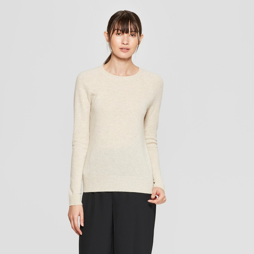 Women's Long Sleeve Crew Neck Cashmere Pullover Sweater - Prologue Oatmeal XL