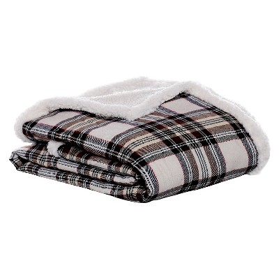 Khaki Edgewood Plaid Flannel Sherpa Throw (50 X60 )- Eddie Bauer®