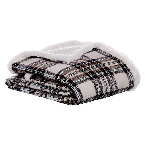 "Khaki Edgewood Plaid Flannel Sherpa Throw (50""X60"") - Eddie Bauer® - image 1 of 2"