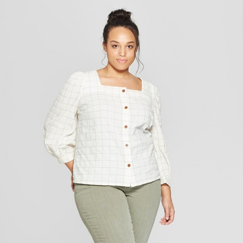 2154a2fd5060b Women s Plus Size Plaid Long Sleeve Square Neck Button Front Shirt -  Universal Thread™ Blue