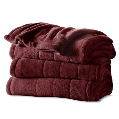 Channeled Microplush Electric Blanket (Queen)Garnet - Sunbeam®