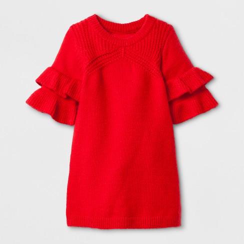Toddler Girls Sweater Dress Genuine Kids From Oshkosh Red T