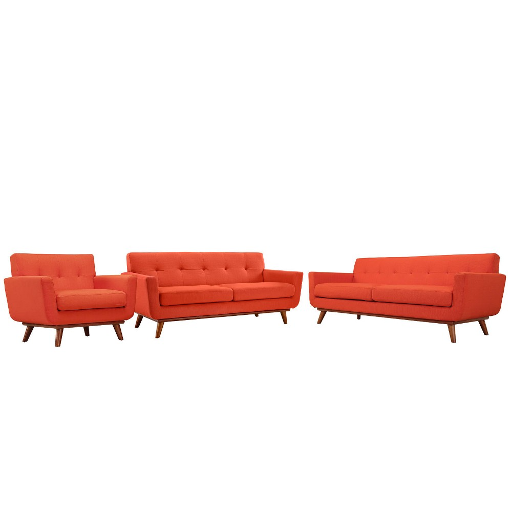 Engage Sofa Loveseat and Armchair Set of 3 Atomic Red - Modway