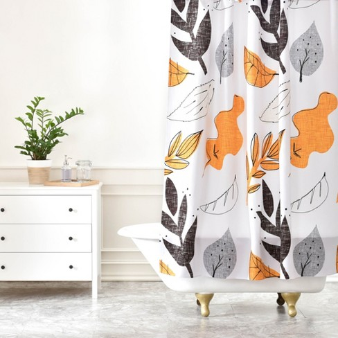 Fall Leaves Shower Curtain Gray