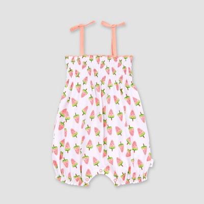 Burt's Bees Baby® Baby Girls' Organic Cotton Watermelon Popsicle Bubble Romper - White 6-9M
