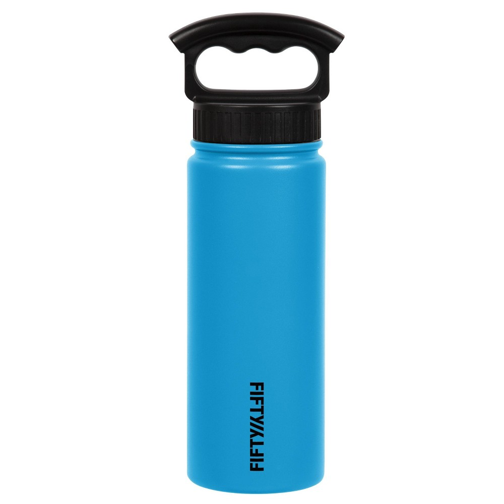 Image of FIFTY/FIFTY 18oz Bottle 3 Finger Grip Cap Crater Blue