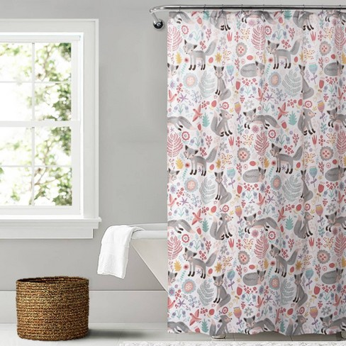Pixie Fox Shower Curtain Gray/Pink - Lush Dcor - image 1 of 4
