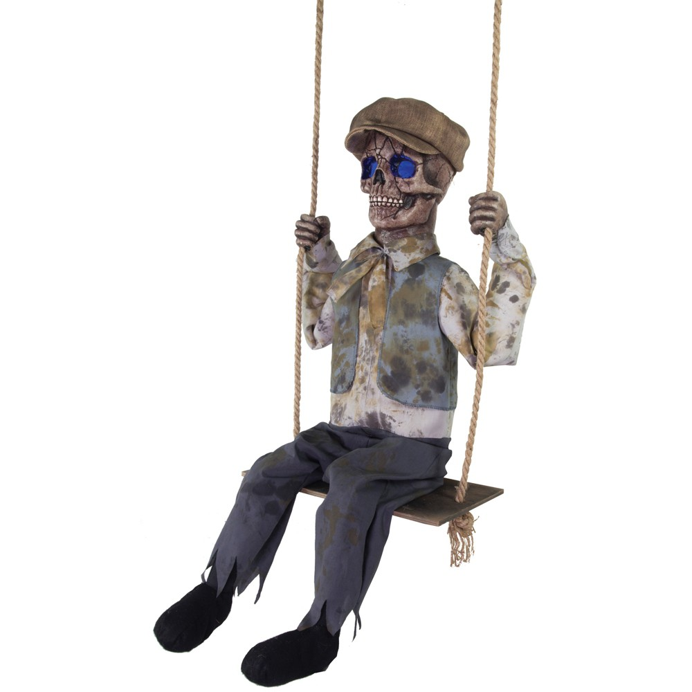 62 Halloween Swinging Skeletal Boy, Multi-Colored