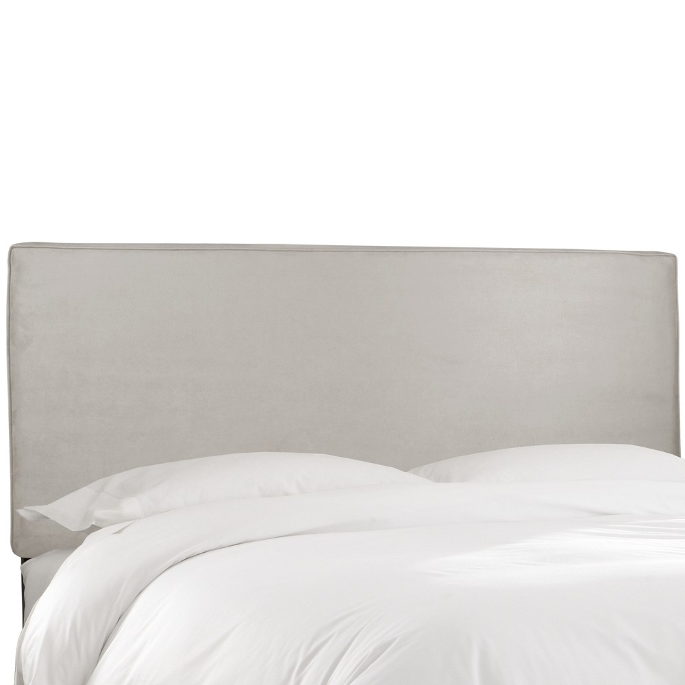 California King Harper Box Seam Headboard Light Gray Velvet - Skyline Furniture Coupons