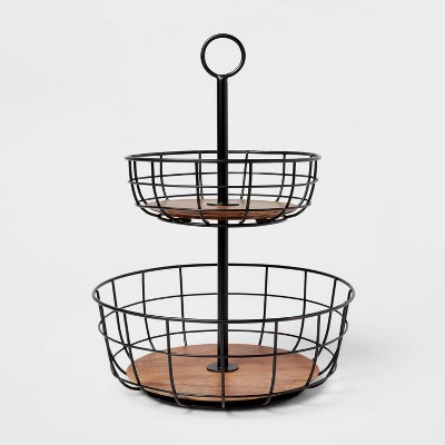 Iron and Mangowood Wire 2-Tier Fruit Basket Black - Threshold™