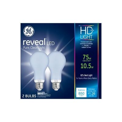 75W Reveal 2pk Aline LED Light Bulb White - General Electric