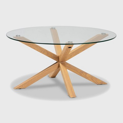 Lida Glass and Wood Finished Coffee Table Clear/Natural - Baxton Studio