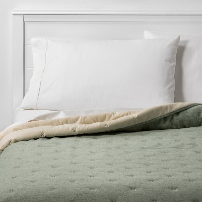 Full/Queen Chambray Quilt Green - Threshold™
