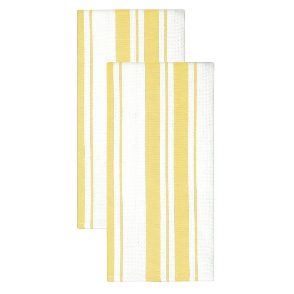 "Image of ""20""""x 30"""" 2pk Cotton Stripe Kitchen Towel Yelllow - MUkitchen, Yellow"""