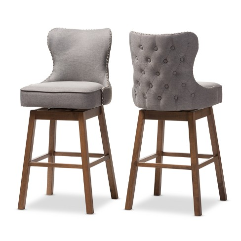 Prime Gradisca Modern And Contemporary Wood Finishing And Fabric Button Tufted Upholstered Swivel Barstools Set Of 2 Baxton Studio Bralicious Painted Fabric Chair Ideas Braliciousco