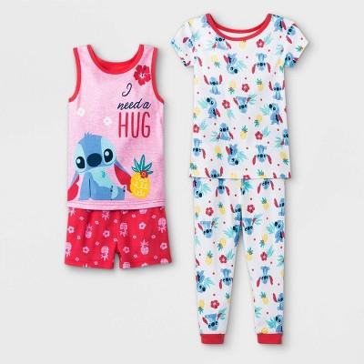 Baby Girls' 4pc Lilo & Stitch Pajama Set - Pink 18M