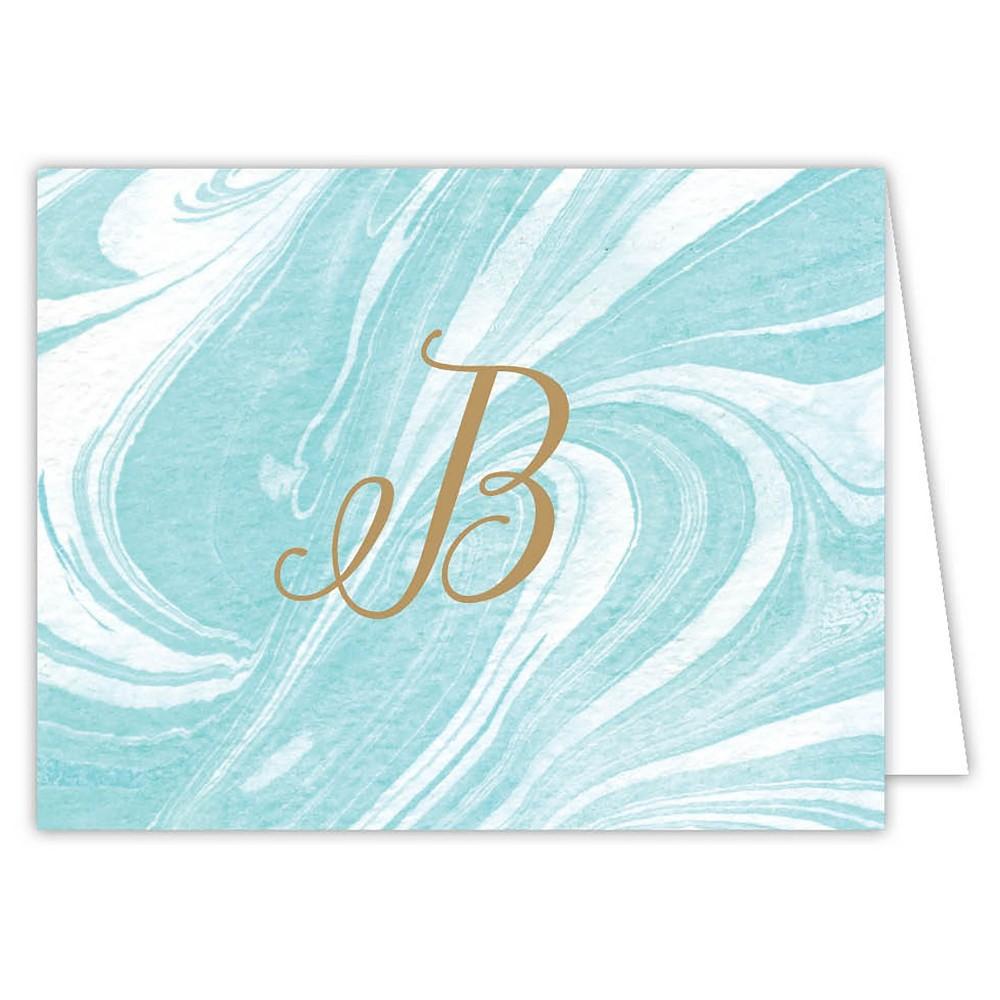 Marble Folded Notes Monogram B, Blue B