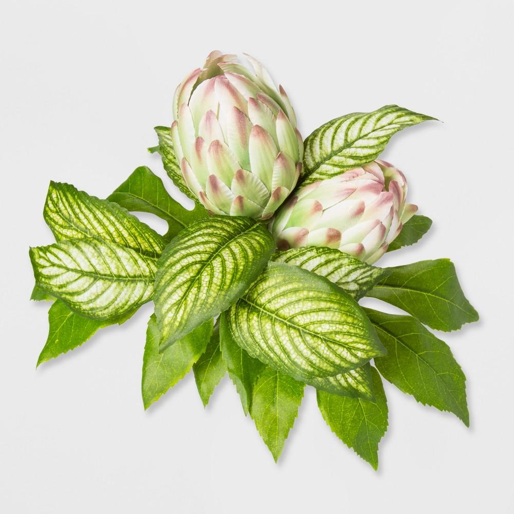 14 Artificial Protea Bouquet Stem White/Green - Opalhouse