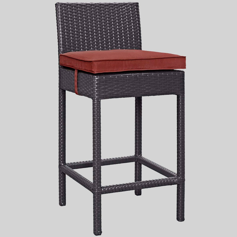 Convene Outdoor Patio Fabric Bar Stool in Espresso/Currant - Modway