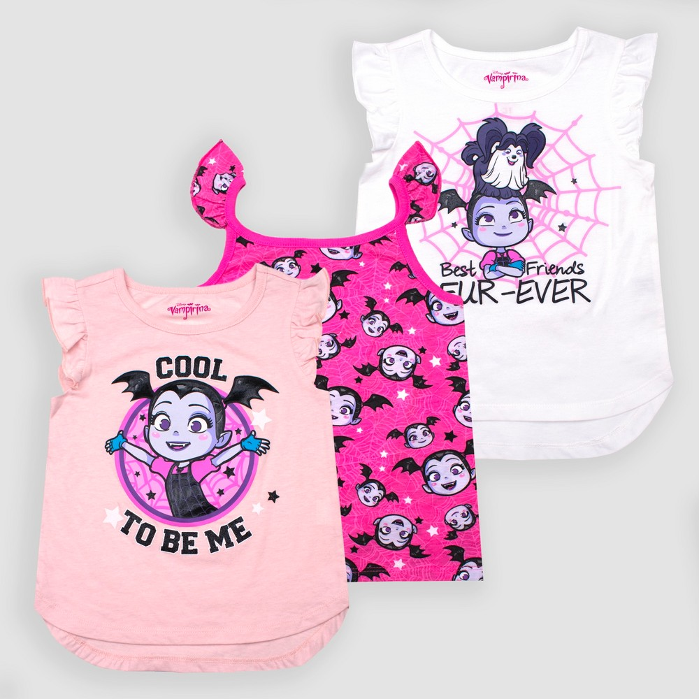 Toddler Girls' Disney Vampirina 3pk Cap Sleeve T-Shirts - Pink/White/Peach 3T