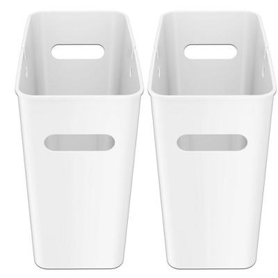 iTouchless SlimGiant Wastebasket 4.2 Gallon White 2-Pack