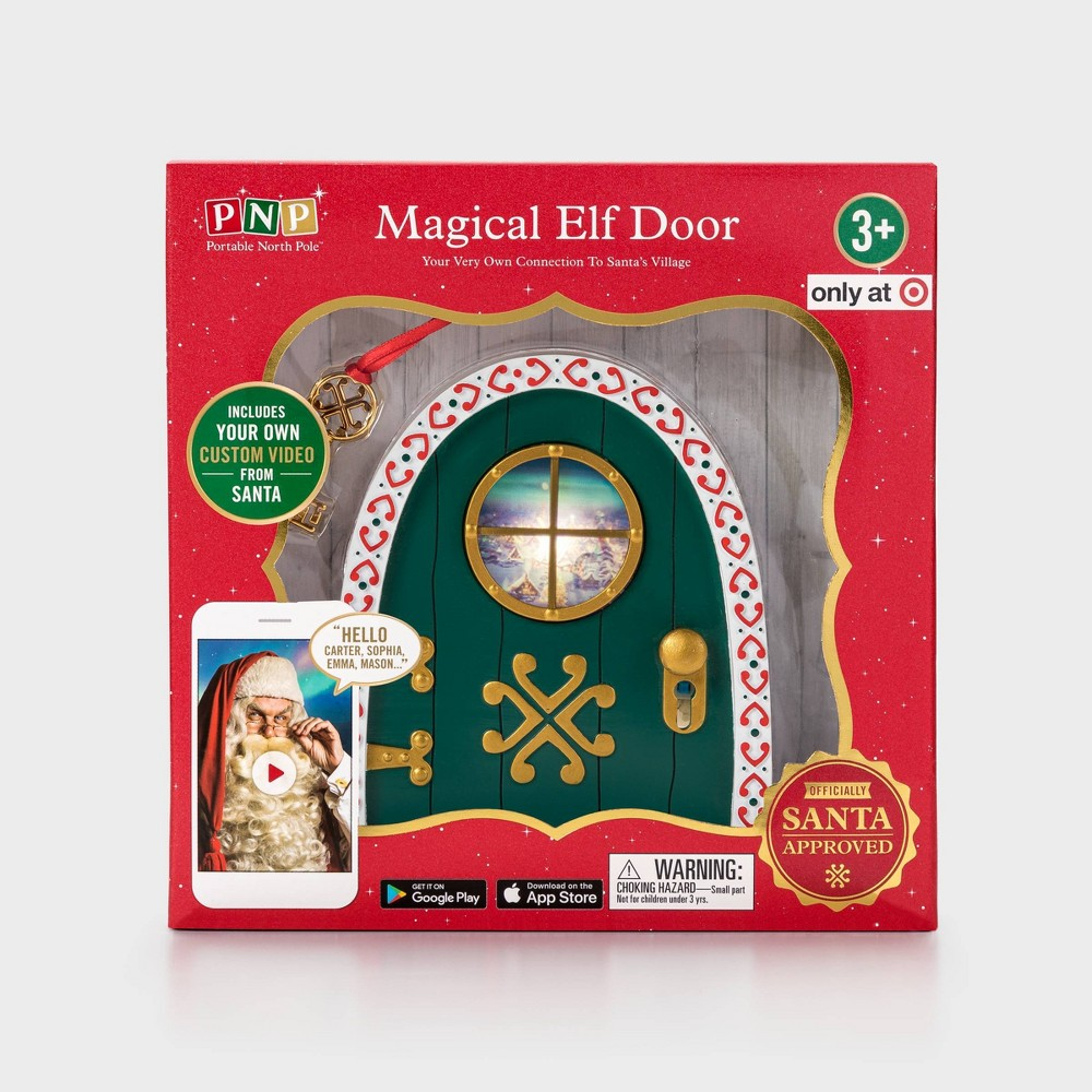 Image of Elf Door Decorative Figurine - Portable North Pole, Green