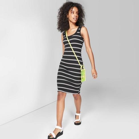 Women's Striped U-Neck Knit Tank Dress - Wild Fable™ Black/White - image 1 of 5