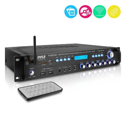 Pyle P3201BT 3000 Watt Pro Home Audio Multi Channel Bluetooth Hybrid Amplifier Receiver Pre-Amplifier with MP3/USB/SD/AUX Readers and FM Radio, Black