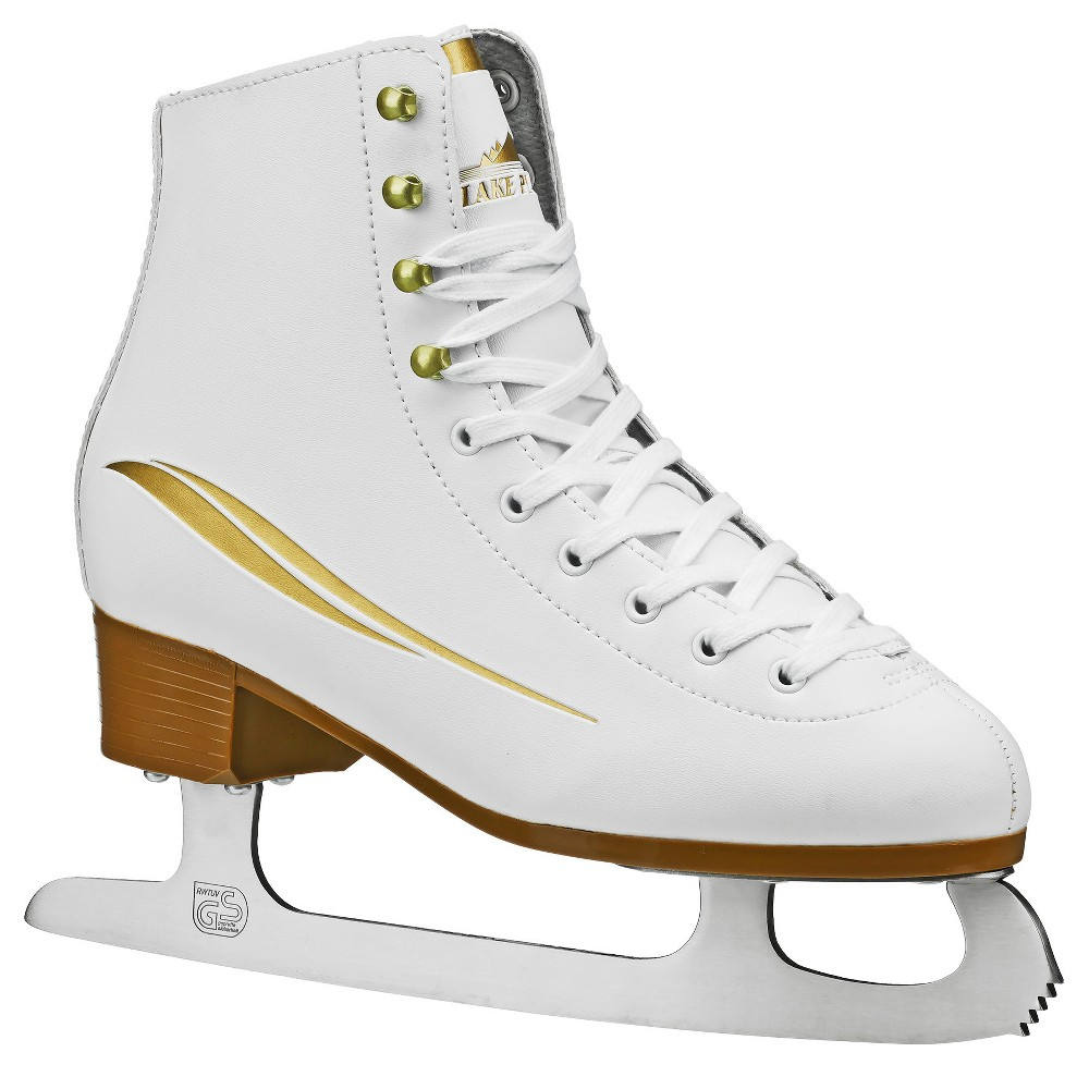 Lake Placid Cascade Women's Figure Ice Skate - White (Size 6), Gold White