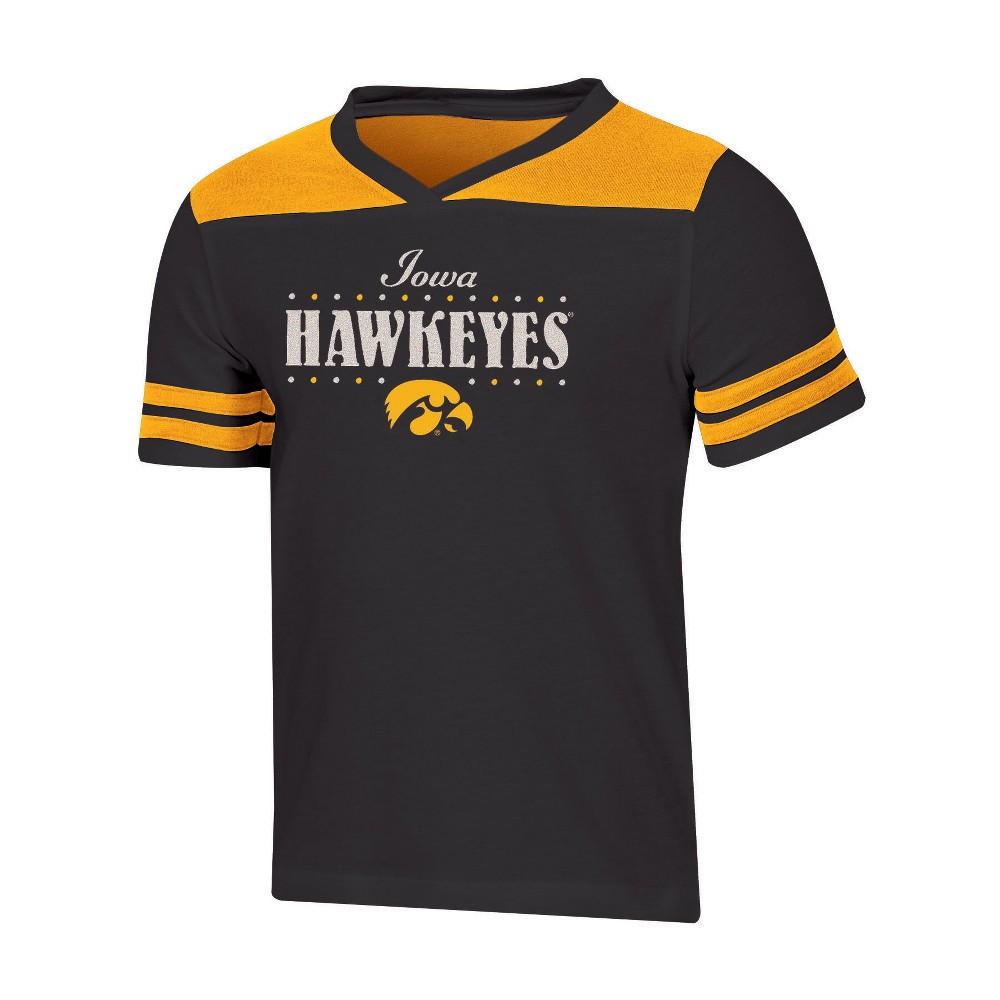 NCAA Girls' Heather Fashion T-Shirt Iowa Hawkeyes - XL, Multicolored